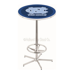 Holland Bar Stool - Holland Bar Stool L216 - 42 Inch Chrome North Carolina Pub Table - L216 - 42 Inch Chrome North Carolina Pub Table  belongs to College Collection by Holland Bar Stool Made for the ultimate sports fan, impress your buddies with this knockout from Holland Bar Stool. This L216 North Carolina table with retro inspried base provides a quality piece to for your Man Cave. You can't find a higher quality logo table on the market. The plating grade steel used to build the frame ensures it will withstand the abuse of the rowdiest of friends for years to come. The structure is triple chrome plated to ensure a rich, sleek, long lasting finish. If you're finishing your bar or game room, do it right with a table from Holland Bar Stool.  Pub Table (1)