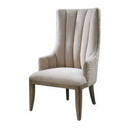 Uttermost Zyla Chenille Arm Chair - Almond Beige - Update your living space with the fashionable Uttermost Zyla Chenille Arm Chair - Almond Beige. This chair is made with a solid pine wood frame with reinforced joinery. It's upholstered in soft chenille fabric and features an almond beige and animal stripe pattern. This chair features a matte champagne nail head trim that adds chic appeal. Its tall contoured back provides comfortable seating while enforcing corrective posture. A wonderful furnishing for living room and office spaces.About UttermostThe mission of the Uttermost Company is simple: to make great home accessories at reasonable prices. This has been their objective since founding their family-owned business over 30 years ago. Uttermost manufactures mirrors, art, metal wall art, lamps, accessories, clocks, and lighting fixtures in its Rocky Mount, Virginia, factories. They provide quality furnishings throughout the world from their state-of-the-art distribution center located on the West Coast of the United States.