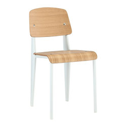 n/a - Standard Style Side Chair, Natural Seat with White Frame - Our Prouve Standard Chair is a high quality reproduction of the original design by Jean Prouve, 1930. This chair is made of plywood seat and backrest, and is complemented by a powder coated steel frame in your choice of white or black. This mid-century inspired chair is most well known for its aeronautic style rear legs. Robust and functionally versatile, the Prouve style standard chair works well in a wide variety of settings; for domestic use, offices, or public seating in cafés and restaurants.