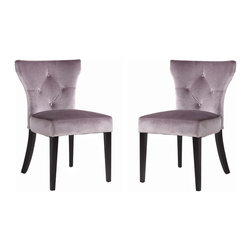 Armen Living - Elise Side Chair, Set Of 2, Gray - Need an extra dining chair? This rich velvet dining chair stores easily when the guests leave or use them around a dinette or game table. Thick foam padding and California Fire Retardant rated. Armen Living is the quintessential modern-day furniture designer and manufacturer. With flexibility and speed to market, Armen Living exceeds the customer s expectations at every level of interaction. Armen Living not only delivers sensational products of exceptional quality, but also offers extraordinarily powerful reliability and capability only limited by the imagination. Our client relationships are fully supported and sustained by a stellar name, legendary history, and enduring reputation. The groundbreaking new Armen Living line represents a refreshingly innovative creative collaboration with top designers in the home furnishings industry. The result is a uniquely modern collection gorgeously enhanced by sophisticated retro aesthetics. Armen Living celebrates bold individuality, vibrant youthfulness, sensual refinement, and expert craftsmanship at fiscally sensible price points. Each piece conveys pleasure and exudes self expression while resonating with the contemporary chic lifestyle.