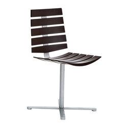 """Pre-owned Domitalia Wood Paneled Side Chair - Domitalia's """"Laser"""" side chair features a unique wood paneling design and it is sturdy enough to use as a dining chair or desk chair.     Please contact support@chairish.com if you are interested in purchasing multiple."""