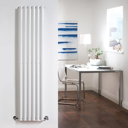 Hudson Reed - Luxury White Vertical Designer Radiator Heater 63 x 14 With Valves - With a heat output of 1,009 Watts (3,445 BTUs), this vertical designer radiator, in a fashionable white powder coat finish, is stylish and highly efficient, ensuring that your room is heated quickly. This luxury radiator is designed especially for use in any room, looking equally stylish in a modern or traditional setting; its fourteen white vertical columns bring a touch of elegance to any living space. This modern version of the traditional cast-iron radiator is also highly functional, connecting directly into your domestic central heating system via radiator valves supplied (please choose angled or straight valves). Luxury White Vertical Designer Radiator 63 x 14 Details  Dimensions: (H x W x D) 63 x 14 x 4 Output: 1,009 Watts (3,445 BTUs) Pipe centres with valves: 17 Wall to centre of tapping: 2.5 Number of columns: 6 (2 thickness) Designed to be plumbed into your central heating system Suitable for bathroom, cloakroom, kitchen etc.  Buy now, to transform your bathroom or other living space, at an affordable price. Please Note: Our radiators are designed for forced circulation closed loop systems only. They are not compatible with open loop, gravity hot water or steam systems.