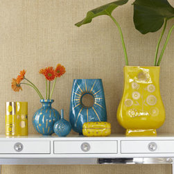 "Jonathan Adler - Jonathan Adler Teal ""Selene"" Bud Vase - High-fired porcelain decor glazed in rich, saturated color has golden detailing. From Jonathan Adler. Listed left to right. Mustard ""Althea"" vase, 5.75""Dia. x 8.5""T. Teal ""Hera"" vase, 7.25""Dia. x 9""T. Teal ""Selene"" bud vase, 4.25""Dia. x 6.5""T. Teal..."