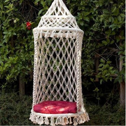 Birdcage Hammock Chair - A birdcage hammock chair is all I need for a relaxing afternoon on my patio or in my garden. A hot pink cushion brings some much-needed color and an exotic feeling to the overall look. You can't go wrong with this chic find.