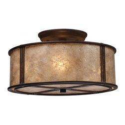 ELK Lighting - Three Light Aged Bronze Tan Mica Shade Drum Shade Semi-Flush Mount - Three Light Aged Bronze Tan Mica Shade Drum Shade Semi-Flush Mount