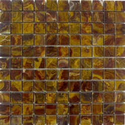 """Marbleville - Multi Red Onyx 1"""" x 1"""" Polished Square Pattern Mosaic  in 12"""" x 12"""" Sheet - Premium Grade Multi Red Onyx 1"""" x 1"""" Square Pattern Polished Finsih Mesh-Mounted Onyx Mosaic is a splendid Tile to add to your decor. Its aesthetically pleasing look can add great value to any ambience. This Mosaic Tile is made from selected natural stone material. The tile is manufactured to high standard, each tile is hand selected to ensure quality. It is perfect for any interior projects such as kitchen backsplash, bathroom flooring, shower surround, dining room, entryway, corridor, balcony, spa, pool, etc."""
