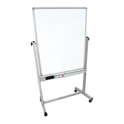 Luxor Furniture - 41 in. Reversible Whiteboard - Luxor MB whiteboard series are made from magnetic reversible whiteboards. Boards feature a silver frame around the whiteboard. Includes 4 casters for easy mobility. Boards lock into place when in position. Aluminum Frame, Painted Galvanized Steel Board. White paint finish on main frame. Assembly required. Frame base is 41.375 in. W x 20.5 in. D x 72 in. H ( 29 lbs. )