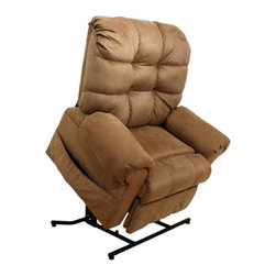"Catnapper - Catnapper Omni Power Lift Full Lay-Out Chaise Recliner Chair in Saddle - Catnapper - Recliners - 4827222029 - This Omni ""Power Lift"" Full Lay-Out Chaise Recliner by Catnapper is the most convenient and ultimate lift chair with long life performance. This Large Scale / Heavy Duty recliner features Comfort Chaise Seating, Plush Pad Roll Arm and Steel Seat Box. It has 450 Lb. Weight Capacity. It is available in Saddle Suede or Thistle, Chianti, Black Pearl, and Havana Chenille. Relaxed and casual look will make this recliner fit into any living room, den or family room!"