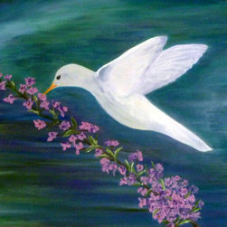 """Vivian Stearns-Kohler/Etoile Creations - """"Peace"""" - Framed Oil Painting - The peaceful background is in shades of turquoise, purple and green with an ethereal bird delicately hovering above a seemingly fragrant lilac branch."""