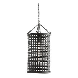 Arteriors - Navid Pendant - This one-light pendant is a handmade woven cage of dark natural iron. Its smaller size makes it perfect for a powder room or hallway. Additional chain available CHN-980. Shown with a large clear tubular bulb.