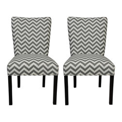 Sole Designs - Julia Zig Zag Grey Dining Chairs (Set of 2) - Give your home a new look with these fashionable chairs. This set of two chairs features fabric upholstery and an attractive finish.
