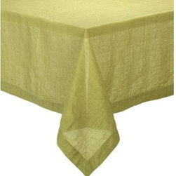 "Helena Pear 60""x90"" Tablecloth - Lightweight 100% linen tablecloths in beautifully vibrant solids are pre-washed for extra softness. Tailored with 2"" hems and mitered corners for a neat, finished look."
