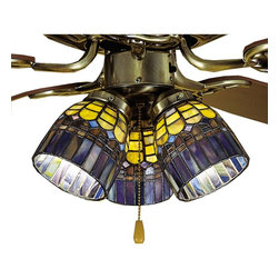 Meyda Tiffany - Meyda Tiffany Candice Ceiling Fan Light Shade X-66472 - From the Candice Collection, this Meyda Tiffany ceiling fan light shade features geometric patterning with angular lines and scallop-like trim. This unique pattern is highlighted by a combination of bold yellows, elegant blues and purples, rich browns and more, all of which have been hand cut and copper foiled.