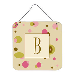 Caroline's Treasures - Letter B Initial Monogram - Tan Dots Aluminium Metal Wall Or Door Print - Great for inside or outside these Aluminum prints will add a special touch to your kitchen, bath, front door, outdoor patio or any special place.  6 inches by 6 inches and full of color.  This item will take direct sun for a while before it starts to fade.  Rust and Fade resistant.  Aluminum Print with Hanging Rope.  Rounded Corners.