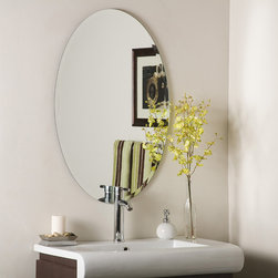 None - Frameless Oval Beveled Mirror - Give any space a sense of depth with this frameless oval beveled mirror. The mirror is made with two layers of glass and metal for durability,and comes with mounting hardware so you can easily install this in your bathroom,entryway,or living room.