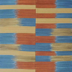 Individual - An 8'x10' Decorative/Modern Flat Weave/Kilim Rug - This is a superb decorative/Modern Flat Weave. It is one of our recent production with awesome color combination, Gold, Blue and Rust. It is made of best wool quality from New Zealand. measures 9' x 12'.