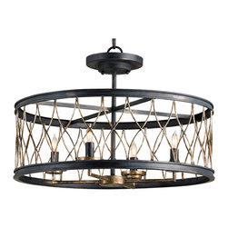 Kathy Kuo Home - French Black Open Lantern 4 Light Ceiling Mount - Is it vintage?  Is it industrial?  Rustic?  You decide.  This circular, ceiling mounted piece could be many things to many people.  Contrast metal framework encircle four lights to create a beautiful effect.  Versatile and stylish, this piece will merge nicely into almost any space you choose.