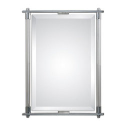 Uttermost - Adara Vanity Mirror - Ribbed glass columns accented with polished chrome plated details.