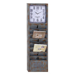 Benzara - Wall Clock with Suits Conventional and Modern Decor - This metal wall clock is an excellent piece of utility and decor. It is a rare masterpiece with an 8 books rack fitted with a wall clock. Embraced with a blue color rustic finish, this wall clock perfectly suits your modern or traditional set up and can easily be kept in your garden when it's not a rainy season. It features a vertical elongated antique wall clock design that can either be hanged or placed on the floor of your living room. This wall clock is visible from a distance and can easily hold your daily newspaper and other magazines for you to read. It is a perfect gifting option too. It is crafted to an old- aged look with sturdy metal that not only offers it durability but a very long life.