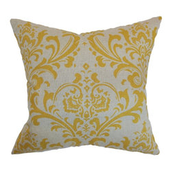"""The Pillow Collection - Olavarria Damask Pillow Corn Yellow 20"""" x 20"""" - Lend a pop of color to your living room, bedroom or sectionals with this vibrant throw pillow. This accent pillow comes with a neutral background and corn yellow damask print. This square pillow is an ideal indoor accessory which suits various decor themes and settings. Made from 100% soft cotton fabric. Hidden zipper closure for easy cover removal.  Knife edge finish on all four sides.  Reversible pillow with the same fabric on the back side.  Spot cleaning suggested."""