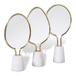 Interlude - Interlude Monique Vanity Mirrors - Set of 3 - White marble bases support brass-trimmed mirrors in varied shapes and create an eye-catching trio sure to perk up any vanity.