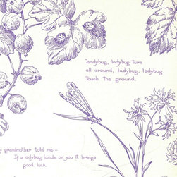 Nature Study Toile - Lavender - A gorgeous collection of mid-century and craftsman style wallpapers - The Ralph Lauren Family Places.