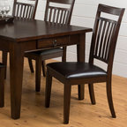 Jofran - Jofran Legacy Oak Dining Side Chairs - Set of 2 Multicolor - JSI1183 - Shop for Dining Chairs from Hayneedle.com! The Jofran Legacy Oak Dining Side Chairs Set of 2 has a dark brown tone and a design that lends itself to retro-mod furniture or any dining-room display with a casual laid-back attitude. The chairs in this set are constructed of oak veneers with solid acacia wood finished in Legacy Oak with a slat-style backrest tapered legs and a comfortable seat fashioned from vinyl-upholstered padding.About Jofran FurnitureJofran is a seller of fine home furnishings based in Norfolk Mass. Launched in 1986 Jofran is known for the high-quality materials and meticulous methods that go into producing its products. Jofran furniture is easy-to-assemble and includes various styles from all around the world making it easy to find a piece that suits your home decor.