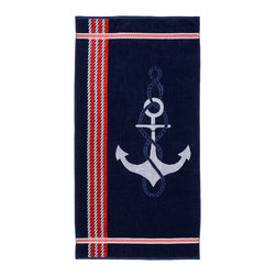 Superior Collection Luxurious Jacquard Cotton Beach Towel - Anchor - Relax and dry off in style with these velour terry cloth beach towels from Superior. This fun design features an anchor and red and white stripes on solid navy blue.