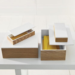 Wood Boxes With Lacquered Lids - Stylish storage for trinkets and treasures.