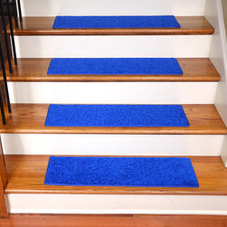 Dean Flooring Company - Dean Non-Slip, Pet Friendly, Carpet Stair Treads - Electric Blue Plush (15) - Quality stylish ultra premium stair gripper non-slip carpet stair treads by Dean Flooring Company. Extend the life of your high traffic hardwood stairs. Reduce slips/increase traction. Cut down on track-in dirt. Great for pets and pet owners. Made in the USA from quality, long lasting stain resistant carpeting with non-slip padded foam backing. Stands up great to high traffic. A fresh new look for your staircase. Do-it-yourself installation is quick and easy with our unique non-slip backing. Simply place your stair tread rugs on your staircase and go. No tapes, adhesives, staples, glue, or Velcro needed. And rest assured, they won't move and they won't damage your hardwood either. They are also simple and easy to remove as well with no sticky residue left behind. Each tread is bound with color matching binding tape. No bulky fastening strips. You may remove your treads for cleaning and re-attach them when you are done. Add a touch of warmth and style to your stairs today with new stair treads from Dean Flooring Company! We make our own stair treads at Dean Flooring Company and our products are not available from anyone else.