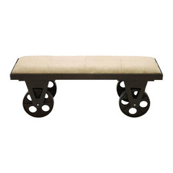 Benzara - Portable Dressing Bench With Rolling Wheels - Relax and sit in comfort just about anywhere in your modern home with this elegant dressing bench. The top of the bench is made with a soft burlap style fabric. With such an elegant style, you can enjoy the look anywhere and everywhere with the portable rolling wheels. Place it perfectly in master bedroom at the foot of the bed.
