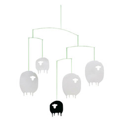Flensted Mobiles - Sheep Mobile - Four white sheep - and the inevitable black one - in constant motion. If you cannot sleep, you will definitely be sleeping 5 minutes after watching this mobile in subdued light!!!