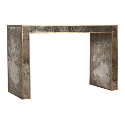 Worlds Away - Madison Mirrored Console - Reverse antique mirrored console with gold leafed edges.