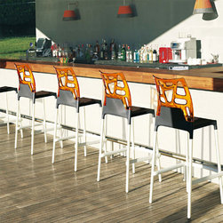 Ego-Rock Barstool - Set of 4 by Plastix/Papatya - It's easy to fall for this brilliant barstool that's equally at home in either indoor or outdoor spaces. With an elegant cut-out back and uber-comfortable seat, it's a plastic stool in modern form. This one is a keeper.