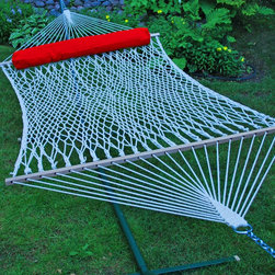 Algoma Double Cotton Rope Hammock with Pillow - The Algoma Double Cotton Rope is your perfect hangout on a warm summer day. Handmade of extra heavy cotton rope, this hammock will provide many summers of relaxation. It is attractive and comfortable it's strong and durable. Use either indoors or outdoors.  Either place, you'll enjoy the look, feel, and comfort of this hammock and pillow combination.