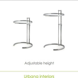 Eileen Gray side table reproduction - Adjustable height side table in stainless steel structure.