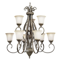 Progress Lighting - Progress Lighting Maison Orleans Traditional 9-Light Chandelier X-78-5734P - Two-tier, nine-light chandelier with oval tubing scrolls and etched jasmin mist glass.