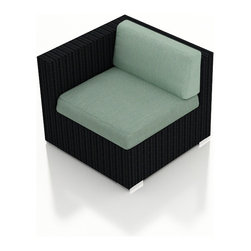 Harmonia Living - Urbana Wicker Modern Left Arm Chair, Spa Cushions - The Urbana Outdoor Wicker Left Arm Facing Chair with Turquoise Sunbrella Cushions (SKU HL-URBN-LAS-SP) is the perfect starting or end point for building your own stylish Urbana Sectional. Made with High-Density Polyethylene (HDPE) wicker, a fade-resistant color is designed to withstand the elements. The section is constructed with a sturdy, thick-gauged aluminum frame, protected with a powder coating for even greater corrosion resistance. The seats are also reinforced to provide support and prevent excessive wicker stretching from repeated use. Both seat and back cushions are included, with your choice among four fade- and mildew- resistant Sunbrella fabric options.
