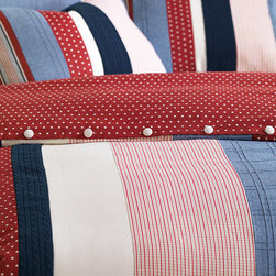 Carter Duvet Cover - Carter salutes the red, white, and blue. This boys' bed set represents classic Americana and features a hand-painted star motif and a pieced duvet with banded stripes.