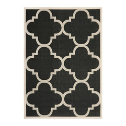 Safavieh - Safavieh Courtyard Black/ Beige Indoor Outdoor Polypropylene Rug - Grace your home with this black indoor/outdoor rug from Safavieh. This bold rug features a beige border,geometric pattern,and thick pile. Constructed from polypropylene material,this power-loomed piece is also resistant to mold and mildew.