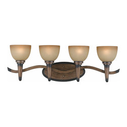 TRIARCH INTERNATIONAL - Triarch International Olympian 4-light Torch Bronze Bath Light - Stylish and chic, this indoor bronze bathroom lighting fixture from Triarch International will add a spa-like feel to your home. The tinted glass and bronzed finish will look elegant above your mirror, and it will give your bathroom a vintage appeal.