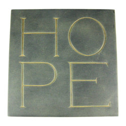 Zeckos - HOPE Outdoor Garden Wall Plaque Stepping Stone - This green cold cast resin square wall plaque that features the word 'HOPE' in large letters around the stone is a great addition to gardens, flower beds and patios, and can also be used as a stepping stone. The plaque measures 9 5/8 inches by 9 5/8 inches, and is 3/4 of an inch thick. It makes a great housewarming gift.
