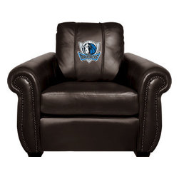 Dreamseat Inc. - Dallas Mavericks NBA Chesapeake Black Leather Arm Chair - Check out this Awesome Arm Chair. It's the ultimate in traditional styled home leather furniture, and it's one of the coolest things we've ever seen. This is unbelievably comfortable - once you're in it, you won't want to get up. Features a zip-in-zip-out logo panel embroidered with 70,000 stitches. Converts from a solid color to custom-logo furniture in seconds - perfect for a shared or multi-purpose room. Root for several teams? Simply swap the panels out when the seasons change. This is a true statement piece that is perfect for your Man Cave, Game Room, basement or garage.