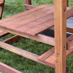 Swing Set Additions - Redwood Picnic Table - Redwood Picnic Table