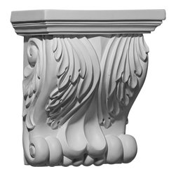"Ekena Millwork - 7 1/8""W x 4 1/8""D x 8 1/4""H Forest Leaf Corbel - 7 1/8""W x 4 1/8""D x 8 1/4""H Forest Leaf Corbel. These corbels are truly unique in design and function. Primarily used in decorative applications urethane corbels can make a dramatic difference in kitchens, bathrooms, entryways, fireplace surrounds, and more. This material is also perfect for exterior applications. It will not rot or crack, and is impervious to insect manifestations. It comes to you factory primed and ready for your paint, faux finish, gel stain, marbleizing and more. With these corbels, you are only limited by your imagination."