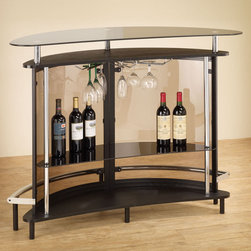 Coaster - Bar Unit - Black - Create a modern entertainment room with this bar unit in black. Featuring a durable tempered glass table top and a semi-transparent acrylic outer shell. Two large shelves and a stemware rack make it easy and convenient to entertain your guests.