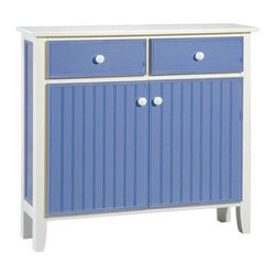 Papila Design Sideboard - The beach house design of this painted wood sideboard would bring the feel of an endless summer to the kitchen. It's so bright and cheery with its clean lines and Bahama blue finish. Its just what I need when I stumble in for my wake-up cup of coffee.