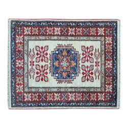 Ivory Area Rug, High Quality Kazak 2'X3' 100% Wool Hand Knotted Rug SH11877 - This collections consists of well known classical southwestern designs like Kazaks, Serapis, Herizs, Mamluks, Kilims, and Bokaras. These tribal motifs are very popular down in the South and especially out west.