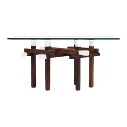 ARTLESS - Double Walnut Matchstick Table - ARTLESS Double Matchstick Table is the only rectangular member of the Matchstick Table family, thus a cousin. It has the right proportion either be a side or center table. The Double Matchstick table is clean, beautiful and complex with a diamond like pattern.