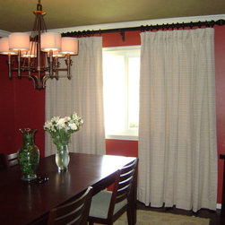 window treatments - floor to ceiling retro panels in dining room